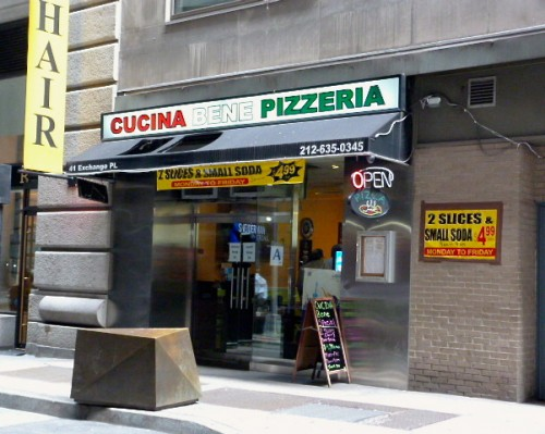 if you dont know cucina bene on exchange place btw william broad exists you arent alone ive probably walked by the block that this pizza place