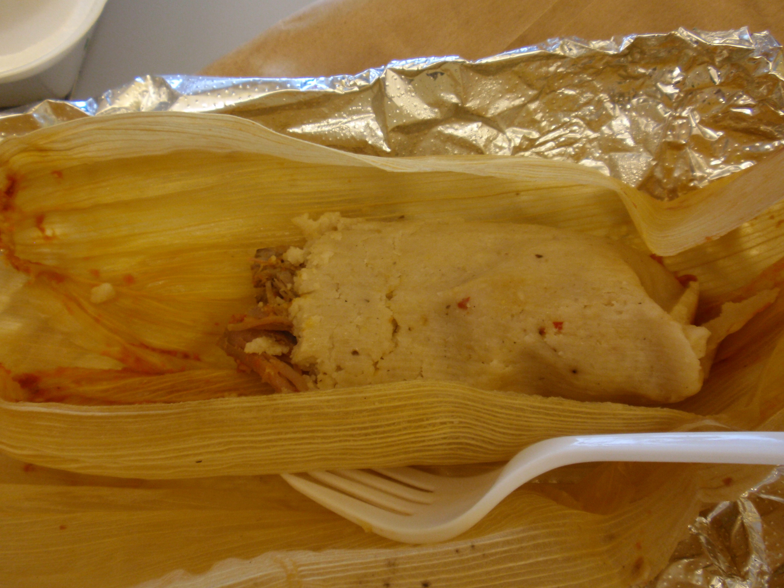 Pork Tamales from El Camioncito Taco Truck. Photo courtesy of Lunch'er Nomnomnyc.
