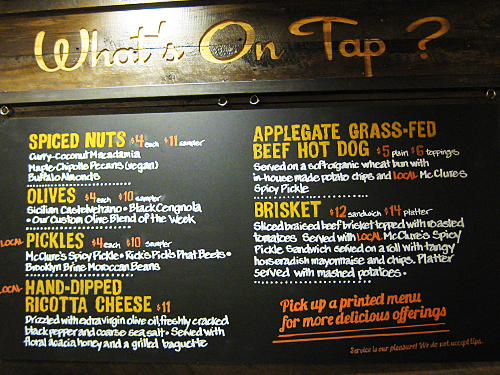 On tap now open and serving food at whole foods midtown for Food bar menu