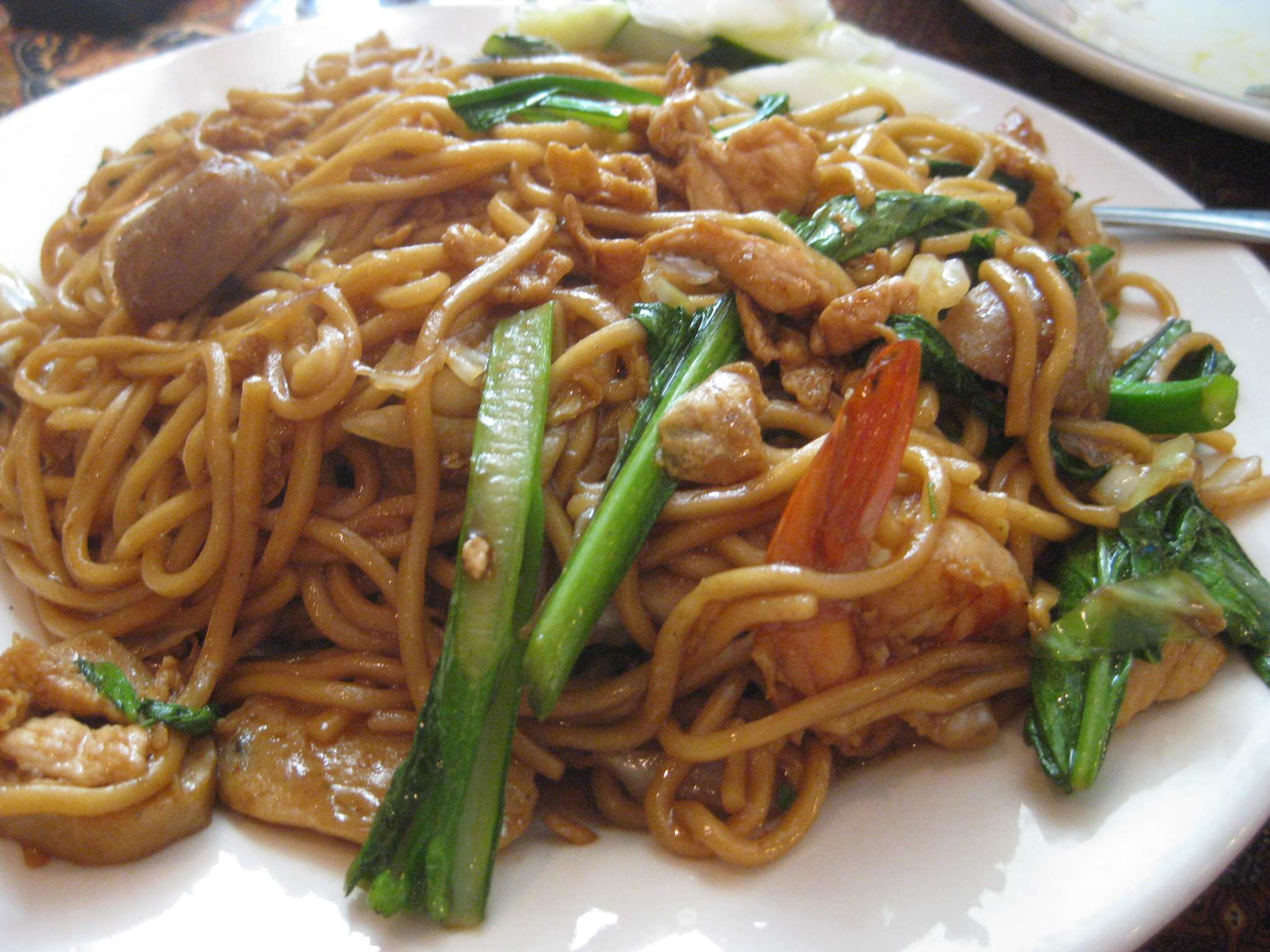 midtown noodle seafood, chicken egg the noodle with comes special fried The works;