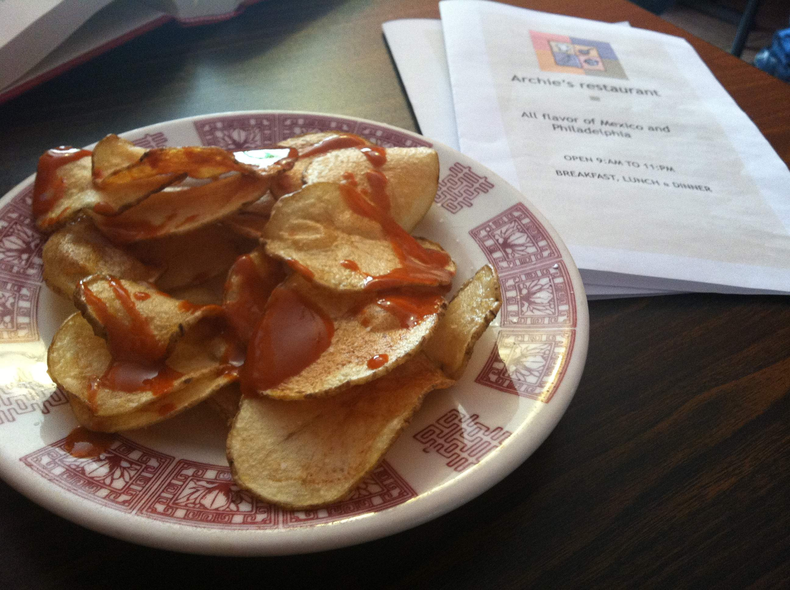 ... chips and salsa. Instead, homemade potato chips and hot sauce came out